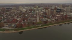 Wide Angle Zoom from the Susquehanna River into the Capitol. Stock Footage