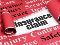 Insurance concept: black text Insurance Claim under the piece of  torn paper - stock illustration