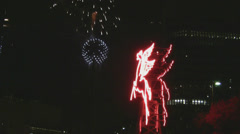 Pegasus Fireworks Display At Reunion Tower Dallas 9 Stock Footage