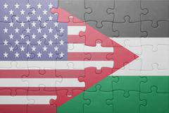 puzzle with the national flag of united states of america and palestine - stock photo