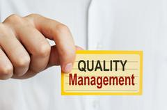 Quality Management card Stock Photos