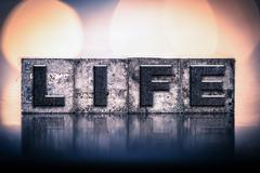 Life Concept Vintage Letterpress Type - stock photo
