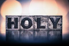 Holy Concept Vintage Letterpress Type - stock photo