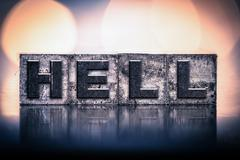 Hell Concept Vintage Letterpress Type Stock Photos