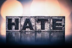 Hate Concept Vintage Letterpress Type - stock photo