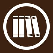 Library Books Rounded Vector Icon Stock Illustration