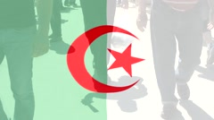 Algeria  flag and People - stock footage