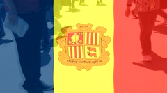 Andorra  flag and People Stock Footage