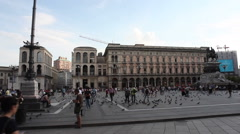 View of the Cathedral in the Duomo square - stock footage