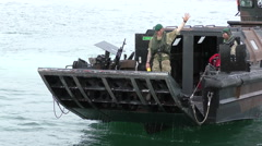 Portuguese amphibious assault Landing Craft approaches the beach Stock Footage
