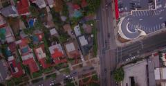 Aerial view neighborhood intersection Wilshire Fairfax Los Angeles California 4K Stock Footage