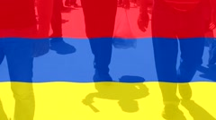 Stock Video Footage of Armenia  flag and People