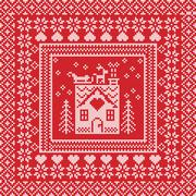 Stock Illustration of Pattern with gingerbread house with red background