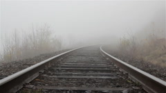 Fog on railway track Stock Footage