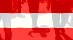 Austria  flag and People Stock Footage
