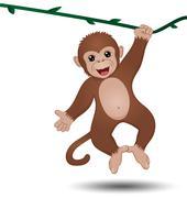 Monkey hanging on a branch Stock Illustration