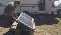 Deploying Folding Solar Panel At Remote Job Site Stock Footage