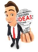 3d businessman light bulb - stock illustration