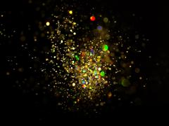glitter vintage lights background. dark gold and black - stock photo