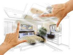 Beautiful Hands Framing Custom Bedroom Drawing Photograph Combination. - stock photo