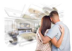 Military Couple Looking Over Custom Bedroom Design Drawing Photo Combination - stock photo