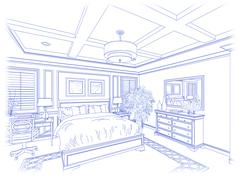Beautiful Custom Bedroom Design Drawing in Blue Isolated on White. - stock photo