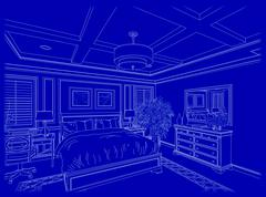 Beautiful Custom Bedroom Design Drawing in White On Blue Background. - stock photo