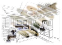 Beautiful Custom Bedroom Design Drawing and Photo Combination. - stock photo