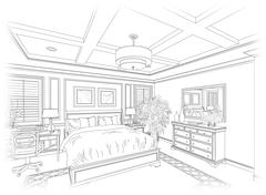Detailed Line Drawing of A Beautiful Bedroom. - stock photo