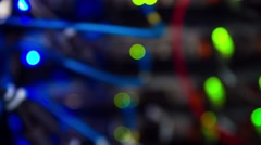 Defocused Lights Of Modern Working Data Servers Stock Footage