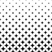 Seamless monochrome curved star pattern - stock illustration