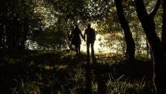 Two lovers walking hand in hand in the forest or wood: couple, love, marriage Stock Footage
