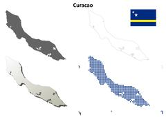 Curacao outline map set Stock Illustration