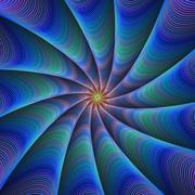 Path to meditation - blue fractal design background - stock illustration