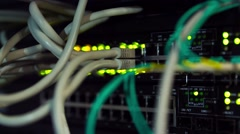Back Side Of Modern Working Data Servers With Cables And Flashing  Lights - stock footage
