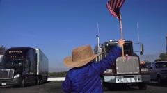 American Flag waving , truck stop Stock Footage