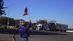 American Flag waving, American truckers - stock footage