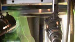 production line of  glass beer bottles - stock footage