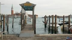 Venice Water Taxi Stand Stock Footage