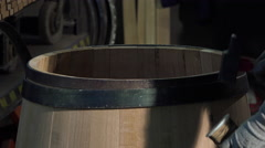 Close up of manufacturing wine barrels Stock Footage