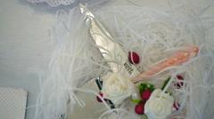 Detail of wedding cake cutting by newlyweds Wedding cake Stock Footage
