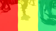 Guinea  flag and People Stock Footage