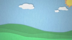 Animated green grass, blue sky with clouds Stock Footage