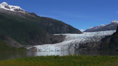 Mendenhall Glacier Right Panning Wide Panorama, 4k Stock Footage