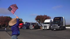 American Flag waving, supporting the American worker Stock Footage