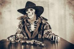 Old West Skeleton Revolver - stock photo
