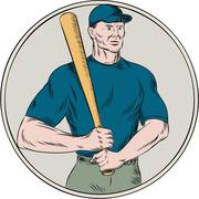 Baseball Player Batter Holding Bat Etching Stock Illustration