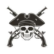 Jolly Roger skull in cocked hat vector. Evil captain logo template. death t - stock illustration