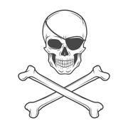 Jolly Roger with eyepatch and crossbones logo template. Evil skull vector. Dark - stock illustration