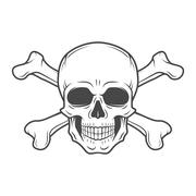 Human evil skull vector. Pirate insignia concept design. Jolly Roger with Stock Illustration
